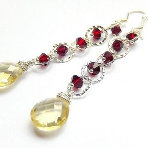 Jewelry - Yellow Quartz Earrings in Sterling Silver